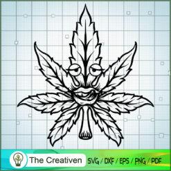 Cannabis Leaf Mascot Silhouette SVG , Marijuana Leaf SVG, Cannabis SVG, Pot Leaf SVG, Weed SVG