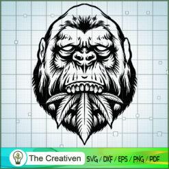 Silhouette Gorillas Eat Leaves Clipart SVG , Marijuana Leaf SVG, Cannabis SVG, Pot Leaf SVG, Gorillas Eat Weed SVG