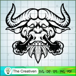 Buffalo Silhouette SVG Smoke Clipart SVG , Marijuana Leaf SVG, Cannabis SVG, Pot Leaf SVG, Buffalo Weed SVG