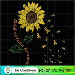 Flower Childhood Cancer Awareness Gold SVG, Cancer Awareness SVG , Ribbon SVG , Lung Cancer Awareness SVG
