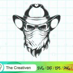 Skull Cowboy Head SVG, Skull Cowboy Head Digital File, Skull SVG