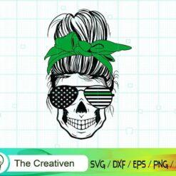 Messy Bun Green Line Svg, Military Svg , Messy Bun Skull SVG