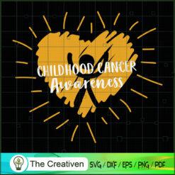 Gold Heart Childhood Cancer Awareness SVG, Cancer Awareness SVG , Ribbon SVG , Lung Cancer Awareness SVG
