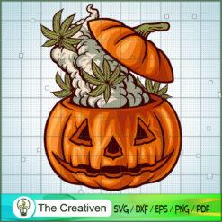 Halloween Head Pumpkin Weed Smoke SVG , Marijuana Leaf SVG, Cannabis SVG, Pot Leaf SVG, Weed SVG