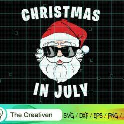 Christmas in July Santa 4th of July SVG, Christmas in July Santa 4th of July Digital File, Chirtmas Santa SVG