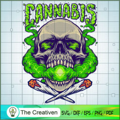 Skull Head Cannabis Clouds Smoking Weed SVG, Skull Head Cannabis SVG, Smoke Weed SVG