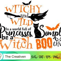 Happy Halloween Witch and Cat Bundle SVG, Happy Halloween Witch and Cat Digital File, Witch and Cat SVG