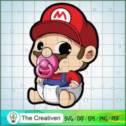 Baby Mario SVG , Game Mario SVG, Funny Mario SVG