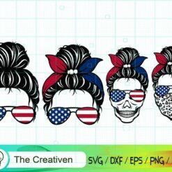 Messy Bun SVG Bundle , America Flag Skull SVG , Messy Bun SVG