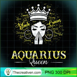 AQUARIUS Queen Black Women February Birthday PNG, Afro Women PNG, Aquarius Queen PNG, Black Women PNG