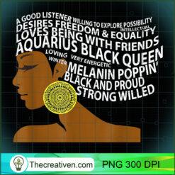 Aquarius Black Queen Zodiac Birthday for Black Women PNG, Afro Women PNG, Aquarius Queen PNG, Black Women PNG