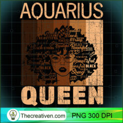 Aquarius Queen Afro Birthday Melanin Black African American PNG, Afro Women PNG, Aquarius Queen PNG, Black Women PNG