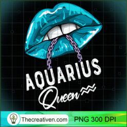 Aquarius Queen Lips  Chain Zodiac Astrology Womens Long Sleeve PNG, Afro Women PNG, Aquarius Queen PNG, Black Women PNG