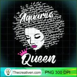 Aquarius Zodiac Birthday Afro Gift  for Black Women PNG, Afro Women PNG, Aquarius Queen PNG, Black Women PNG