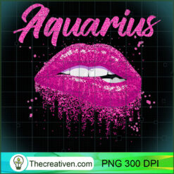 Aquarius Zodiac Birthday Pink Lips  for Black Women PNG, Afro Women PNG, Aquarius Queen PNG, Black Women PNG