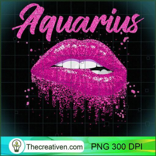 Aquarius Zodiac Birthday Pink Lips T Shirt for Black Women copy
