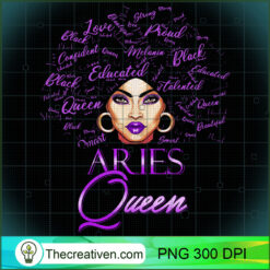 Aries Girl Womens Purple Afro Queen Black Zodiac Birthday PNG, Afro Women PNG, Aries Queen PNG, Black Women PNG