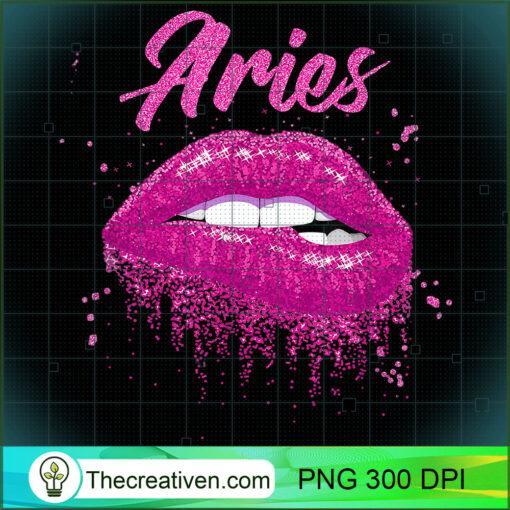 Aries Zodiac Birthday Pink Lips T Shirt for Black Women copy