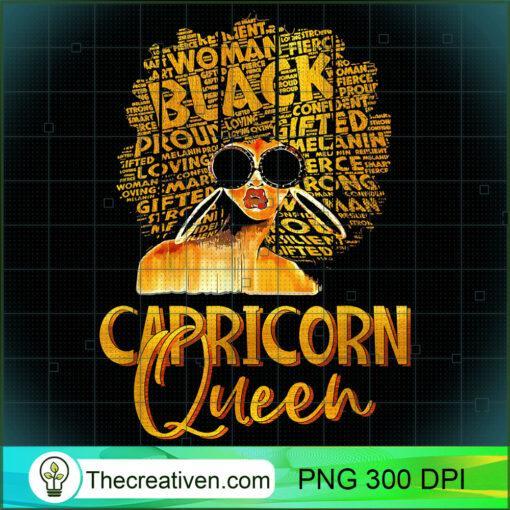 Black Women Afro Hair Art Capricorn Queen Capricorn Birthday T Shirt copy