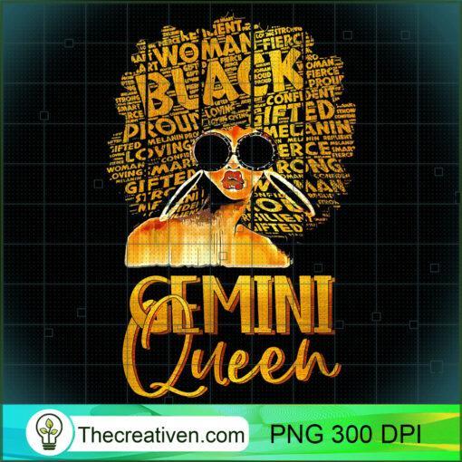 Black Women Afro Hair Art Gemini Queen Gemini Birthday T Shirt copy