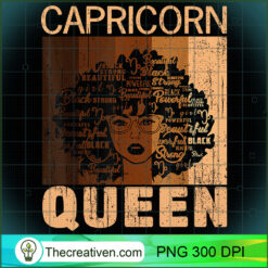Capricorn Queen Afro Birthday Melanin Black African American PNG, Afro Women PNG, Capricorn Queen PNG, Black Women PNG