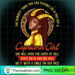 Capricorn Zodiac Dumbest Piss Off A Black Queen PNG, Afro Women PNG, Capricorn Queen PNG, Black Women PNG
