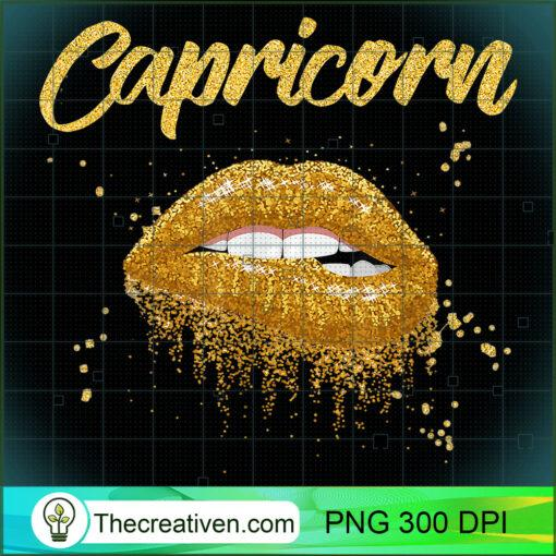 Capricorn Zodiac Birthday Golden Lips T Shirt Black Women copy