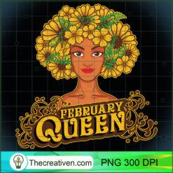 February Queen Birthday Afro Black Funny Pisces Gifts PNG, Afro Women PNG, Pisces Queen PNG, Black Women PNG