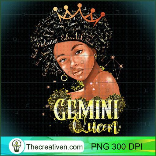 Gemini Queen Strong Smart Afro Melanin Gift Black Women T Shirt copy