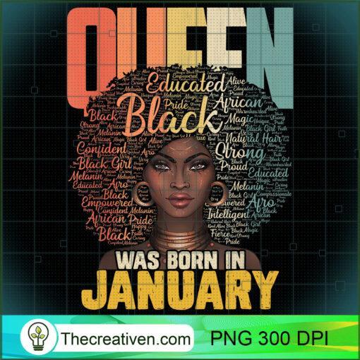 January Queen African American Birthday Capricorn Aquarius T Shirt copy
