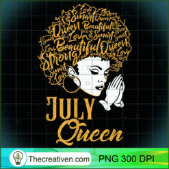 July Queen Prayer African Black Girl Cancer Leo Zodiac PNG, Afro Women PNG, Cancer Queen PNG, Black Women PNG