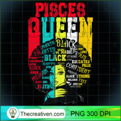 Pisces Pride - Black Woman Afro Horoscope Zodiac Apparel PNG, Afro Women PNG, Pisces Queen PNG, Black Women PNG