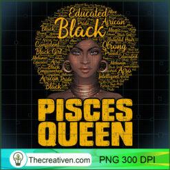 Pisces Queen Black Woman Afro Natural Hair African American PNG, Afro Women PNG, Pisces Queen PNG, Black Women PNG