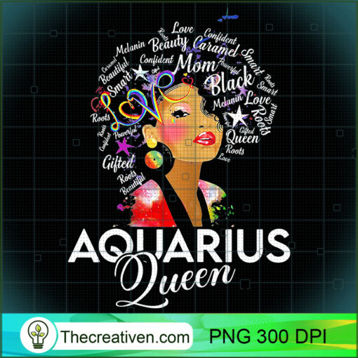 Womens Afro Hair Art Aquarius Queen Birthday January 20 February 18 T Shirt copy
