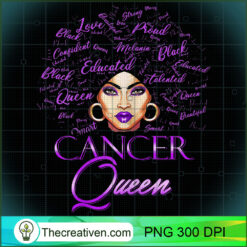 Womens Cancer Girl Womens Purple Afro Queen Black Zodiac PNG, Afro Women PNG, Cancer Queen PNG, Black Women PNG