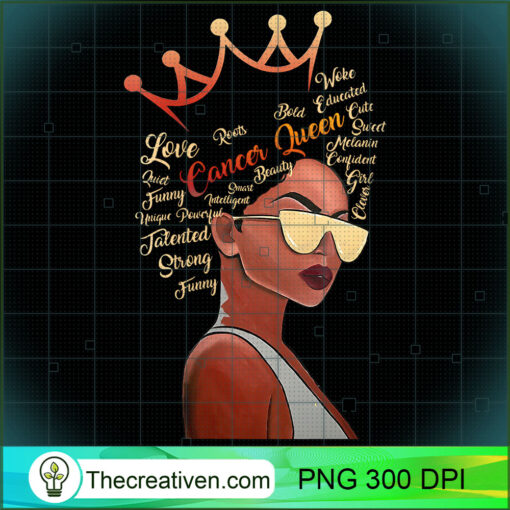 Womens Cancer Queen Strong Smart Afro Melanin Gift Black Women V Neck T Shirt copy