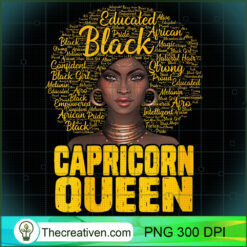 Womens Capricorn Queen Black Woman Natural Hair African American PNG, Afro Women PNG, Capricorn Queen PNG, Black Women PNG