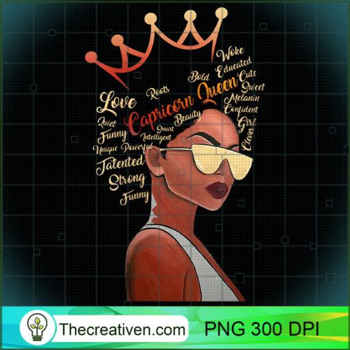 Womens Capricorn Queen Strong Smart Afro Melanin Gift Black Women V Neck T Shirt copy