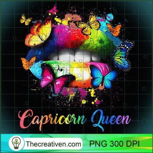 Womens Capricorn Queens Lips Hippie Birthday Gift For Women Girls V Neck T Shirt copy