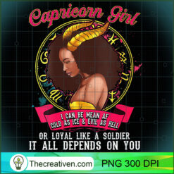Womens Capricorn Zodiac Black Queen Mean Af PNG, Afro Women PNG, Capricorn Queen PNG, Black Women PNG
