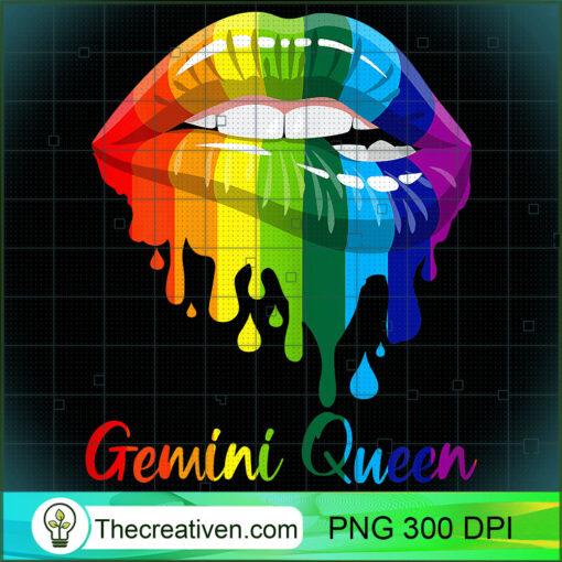 Womens Gemini Queen Birthday Lipsticks Rainbow Costume Girl T Shirt copy