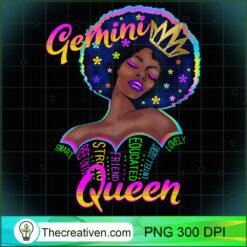 Womens Retro Gemini Queen Are Born in May 22 - June 21 PNG, Afro Women PNG, Gemini Queen PNG, Black Women PNG