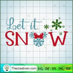 Let It Snow Christmas Minnie Head SVG, Disney Christmas SVG, Mickey And Minnie SVG