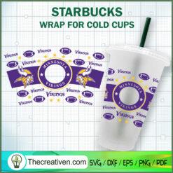 Minnesota Vikings Starbucks Cup SVG, Starbucks Cold Cup Full Wrap SVG