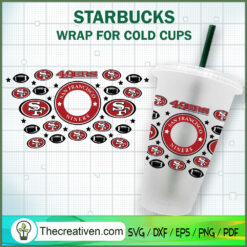 Sanfrancisco Niners Starbucks Cup SVG, Starbucks Cold Cup Full Wrap SVG