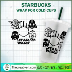 Star Wars Characters Starbucks Cup SVG, Starbucks Cold Cup Full Wrap SVG