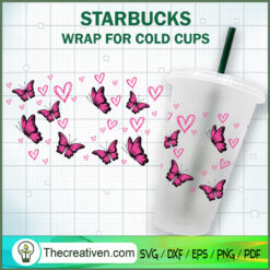 Pink Butterfly Starbucks Cup SVG, Starbucks Cold Cup Full Wrap SVG