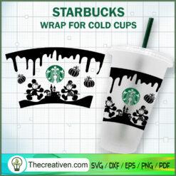Disney Mickey Halloween Starbucks Cup SVG, Starbucks Cold Cup Full Wrap SVG