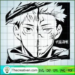 Yuji Itadori Half Face SVG, Jujutsu Kaisen SVG , Anime SVG