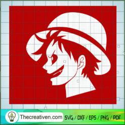 Monkey D.Luffy Head SVG, One Piece SVG, Anime Cartoon SVG